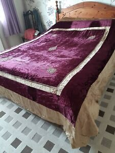 STUNNING MIDDLE EASTERN CRUSHED VELVET EMBROIDERED BED SPREAD SIZE XL