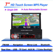 Bluetooth 1DIN Car Stereo Radio MP5 Player Car GPS Monitor Retractable Screen 7""