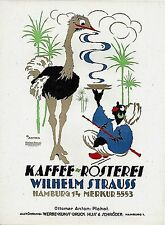 Original vintage poster print STRAUSS COFFEE BLACK & BIRD 1921 Anton