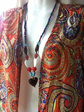 Multi Color Beads Necklace Pendant Heart 68 cm Southern SandStar Oz Surf Jewelry