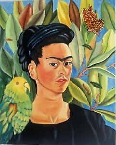 "FRIDA KAHLO HAND PAINTED OIL PAINTING ON CANVAS ""SELF PORTRAIT"""