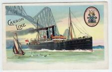 More details for carron line ship at forth railway bridge: shipping advertising postcard (c54450)