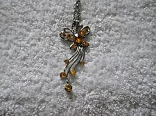 Ex-Display ORANGE Coloured RHINESTONES On Silver Alloy BUTTERFLY NECKLACE