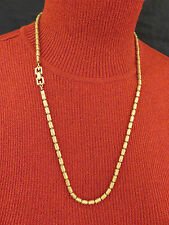 Givenchy Vintage Necklace G Clasp Textured Gold Bead 24 inch Chain Designer 823g