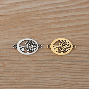 20 x Silver/Gold Tone Tree Heart Connector Charms for Bracelet Jewellery Making
