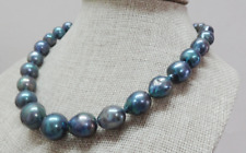 """Huge natural south sea genuine 18""""13x18mm black blue nuclear pearl necklace 14k"""