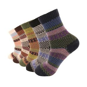 Women 5 Pairs Super Soft Winter Non-Skid Cozy Fuzzy Solid Slipper Socks 5-9