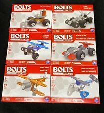 **Bolts By Meccano Lot Of 6 Bulldozer Car Plane Race Car Biplane Helicopter**