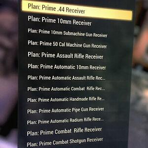 Fallout 76 FO76 PS4 38 Prime Receiver Weapon Mod Plans