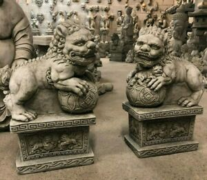 Chinese pair Foo Dogs stone garden ornament post finial gate guardians stunning