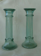Vintage Green Glass Candle Holders Set of 2 Glass Candle Holders
