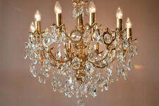 Brass Vintage Crystal Chandelier Antique Lighting Home Lights Lamp 10 arm French