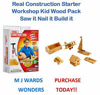 Real Construction Starter Set Workshop Kid Wood Pack Saw it Nail it Build it!