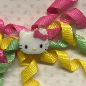 """Girls Hair Colorful Curly Bow 3"""" Wide Hello Kitty Pink Ribbon Barrette"""
