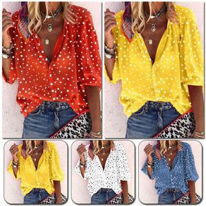 SUMMER Women's Breathable Mesh 3/4 Sleeve Shirts Polka Dot Beach Casual Blouse