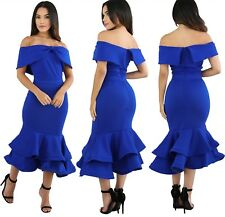 Abito volant scollo Svasato Cerimonia Festa Ballo Party Mermaid Evening Dress M