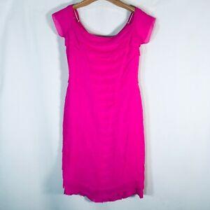Peggy Jennings Womens Silk Dress Hot Pink Size 6 tiered cap sleeve
