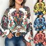 Women Oversize Boho Floral V-Neck Long Lantern Sleeve Blouse T Shirt Tops S-5XL