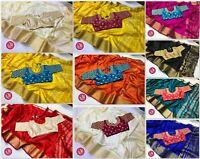 Saree Tussar Silk Indian Pakistani Sari Embroidery Work Stitched Sari Blouse RF