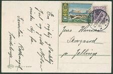 DENMARK 1923, 15ore + Christmas Seal tied on postcard, VF