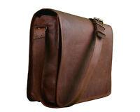 """New 15"""" Genuine Vintage Leather Messenger Shoulder Laptop Bag Brown Satchel"""