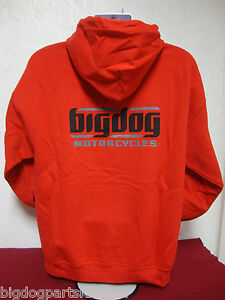 BIG DOG MOTORCYCLES XL SWEATSHIRT HOODIE RED SIGNATURE LOGO  FRONT/BACK DESIGN