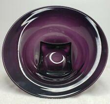 "Amethyst Blown Glass Fruit Bowl Large Square Pedestal Round Bowl 13.25"" Wide"