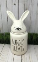"NEW Rae Dunn Large BUNNY TREATS w/Bunny Head Topper Canister  -14"" TALL!"