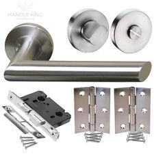 Bathroom Door Handle Pack with Stainless Steel Handles, Lock, Turn & Hinges