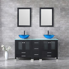 "60"" Black Round Double Vessel Sink Vanity Cabinet Tempered Glass top w/ Mirror"