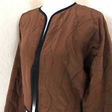 Linda Allard for Ellen Tracy Women's Quilted Silk Bolero Jacket Dolman Sleeves S