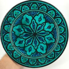 ANTIQUE IZNIK OTTOMAN PERSIAN ISLAMIC Kashan turquoise glazed PLATE BOWL Painted