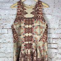 Mossimo Women's Dress Sleeveless Tribal Brick Zip Summer Boho Festival Size XL