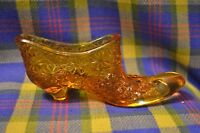 Vintage ?Fenton Daisy & Button Amber Glass Slipper