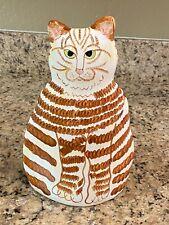 "Ceramic Cat Vase Orange Tabby 11"" tall by 7"" wide"