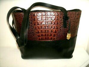 Brahmin Small Medium Black and Pecan Croc Leather Tote Shoulder Bag in EUC!!