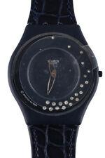 Swatch Skin SFZ 1010 Nuit Etoilee Embossed Leather Diamond Studded Watch Blue