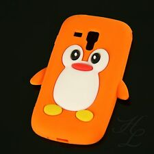 Samsung Galaxy S Duos S7562 Silikon Case Schutz Hülle Etui Pinguin Orange Cover
