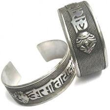 Huge Tibetan Bodhi Weaving Carved OM Mani 2 Big Dorje Amulet Cuff Bracelet