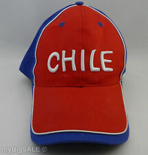 CHILE FLAG RED BLUE WHITE BASEBALL CAP HAT ADJUSTABLE STRAP EMBROIDERED BANDERA
