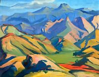 painting art decor gift landscape mountains impressionism Armenia nice vintage