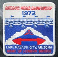 "OUTBOARD WORLD CHAMPIONSHIP SEW ON PATCH LAKE HAVASU CITY 1972 ~ 4"" x 4"" SQUARE"
