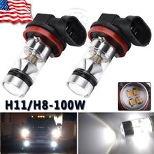2x H11 H8  100W 6000k Super White Fog Lights  2323 LED Driving Bulbs DRL US