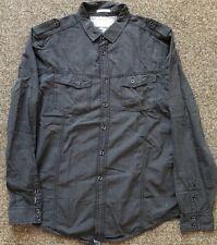 Burton Menswear London Camisa Negra Estilo Ejército Manga Larga Talla L en muy buena condición