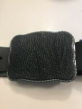 Black Shark Skin Wallet Buckle With Size 34 Full Grain Leather Belt