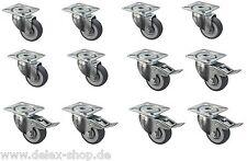 3 Sätze Transportrollen 50 mm Möbelrollen Lenkrollen TK 200 kg Platte Bremse