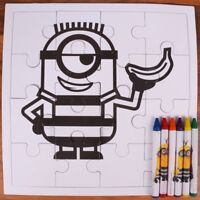 16Pc MINIONS COLOURING PUZZLE + 6 CRAYONS Despicable Me Children Fun Jigsaw Set