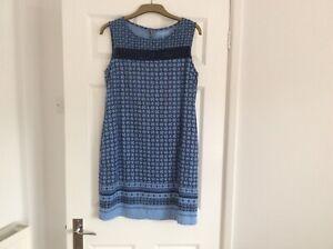 Next Blue Linen Mix Summer Dress Size 14