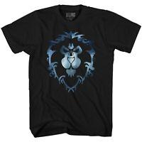 World of Warcraft Alliance Icon T-Shirt men L large new game lion black blue