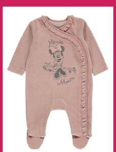 Baby Girls Disney Minnie Mouse Pink Velour Sleepsuit